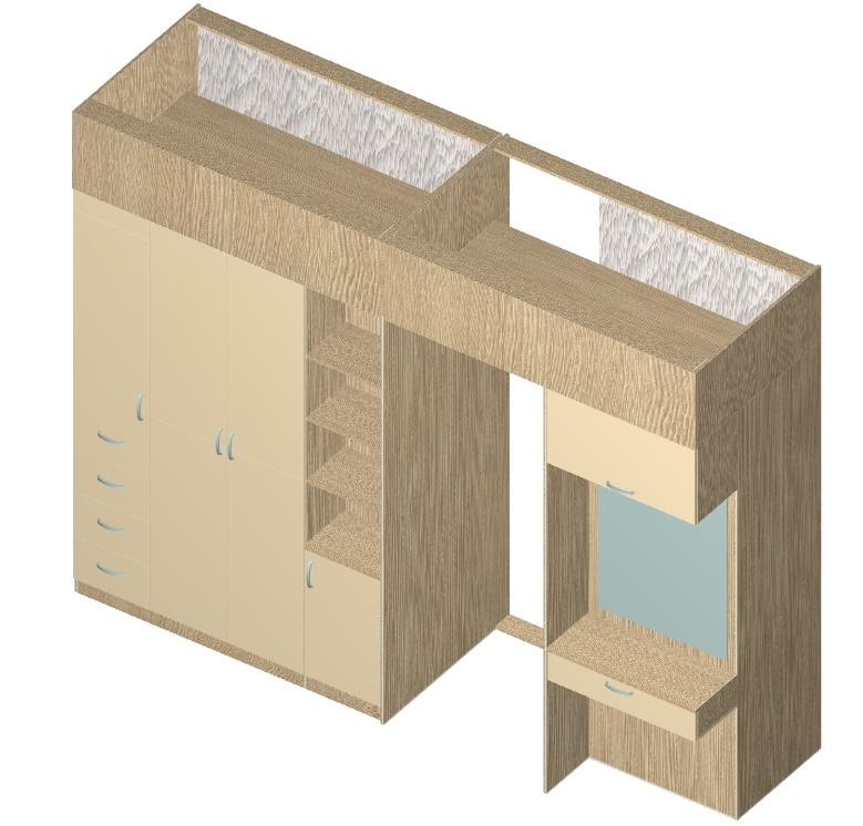 чертеж двухстороннего шкафа-купе перегородки