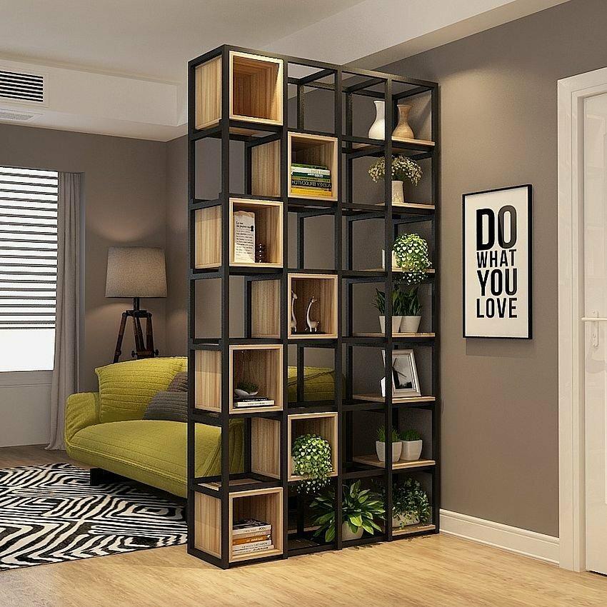 зонирование шкафом в стиле лофт